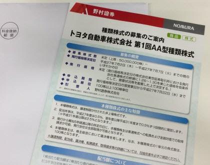 トヨタ新型株パンフレット